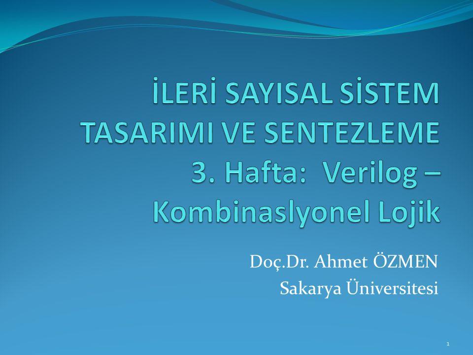 Doç.Dr. Ahmet ÖZMEN Sakarya Üniversitesi 1
