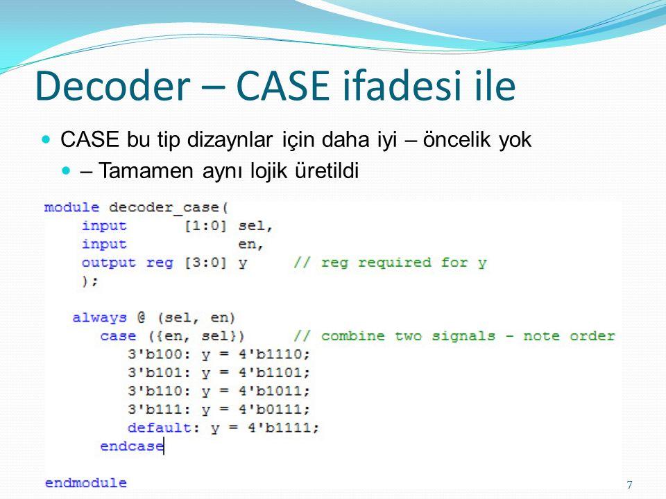 Decoder – CASE ifadesi ile CASE bu tip dizaynlar için daha iyi – öncelik yok – Tamamen aynı lojik üretildi 7
