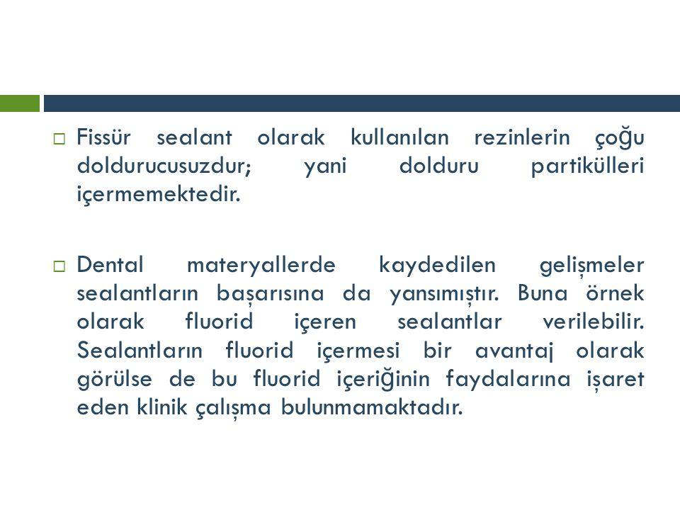  Fissür sealant olarak kullanılan rezinlerin ço ğ u doldurucusuzdur; yani dolduru partikülleri içermemektedir.  Dental materyallerde kaydedilen geli