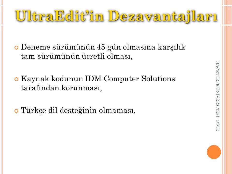 Deneme sürümünün 45 gün olmasına karşılık tam sürümünün ücretli olması, Kaynak kodunun IDM Computer Solutions tarafından korunması, Türkçe dil desteği
