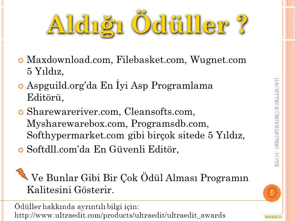 Maxdownload.com, Filebasket.com, Wugnet.com 5 Yıldız, Aspguild.org'da En İyi Asp Programlama Editörü, Sharewareriver.com, Cleansofts.com, Mysharewareb