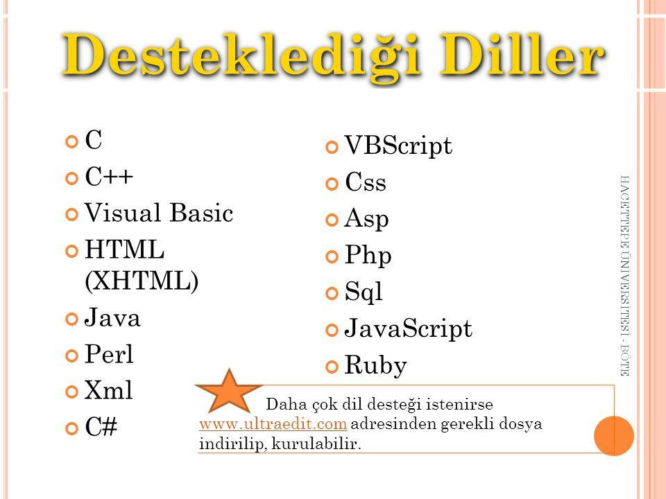 C C++ Visual Basic HTML (XHTML) Java Perl Xml C# HACETTEPE ÜNİVERSİTESİ - BÖTE Desteklediği Diller VBScript Css Asp Php Sql JavaScript Ruby Daha çok d