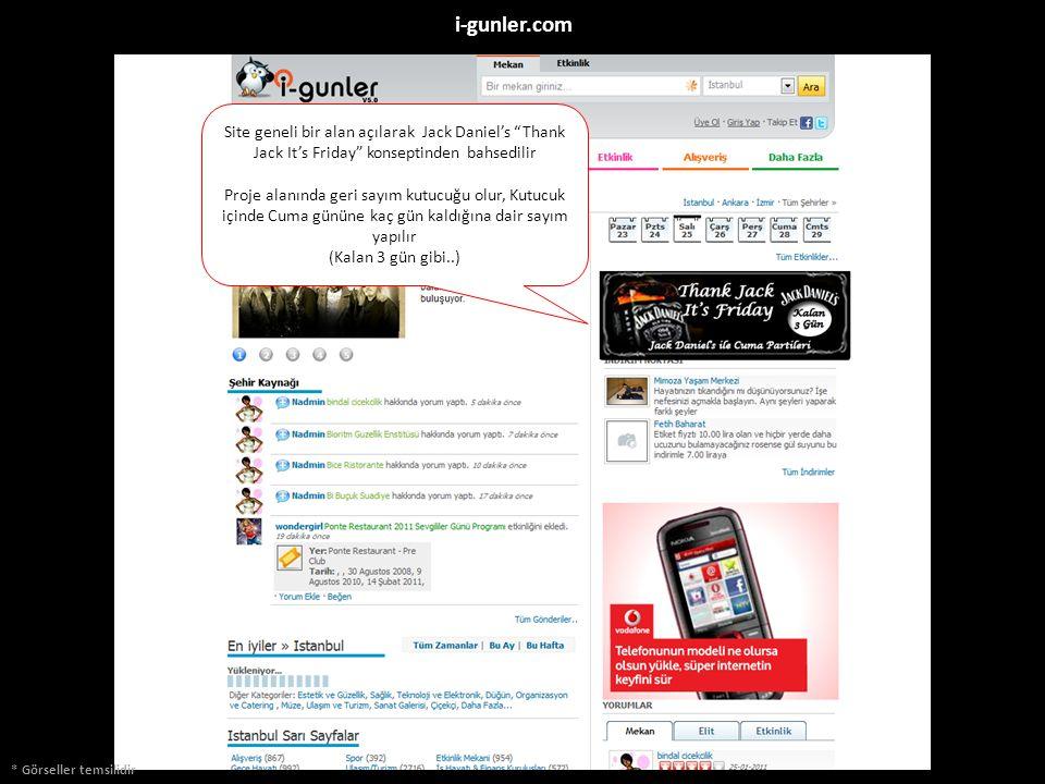 """* Görseller temsilidir i-gunler.com Site geneli bir alan açılarak Jack Daniel's """"Thank Jack It's Friday"""" konseptinden bahsedilir Proje alanında geri s"""