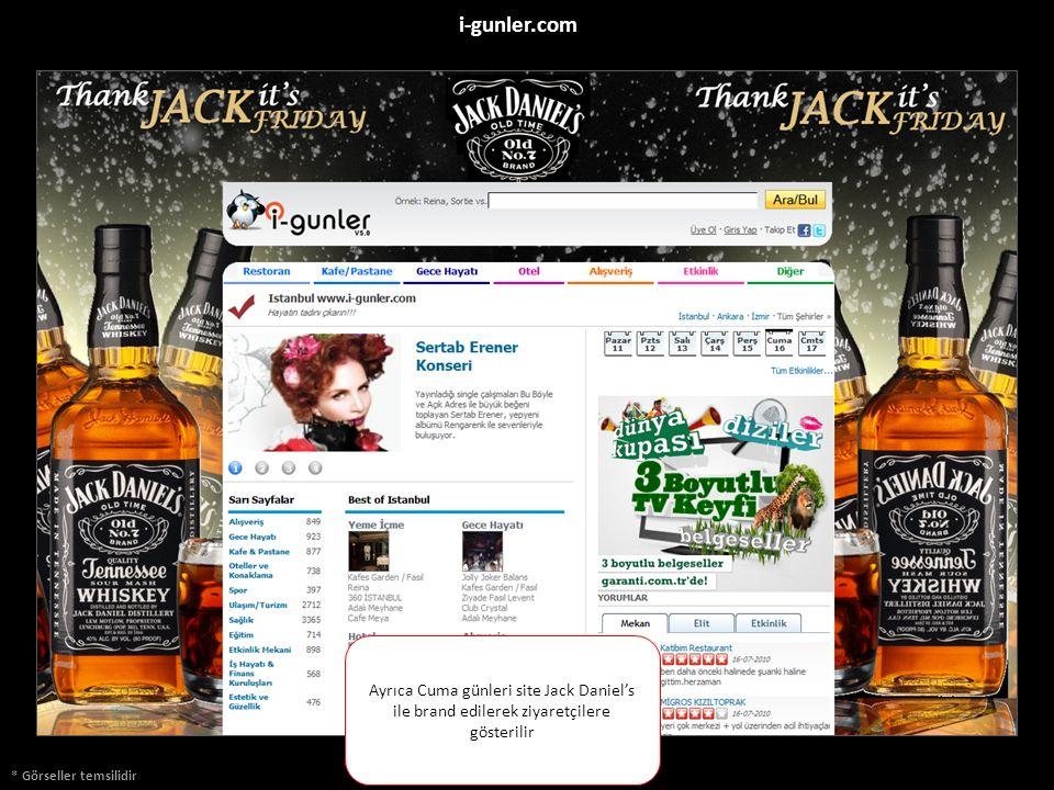 * Görseller temsilidir i-gunler.com Ayrıca Cuma günleri site Jack Daniel's ile brand edilerek ziyaretçilere gösterilir