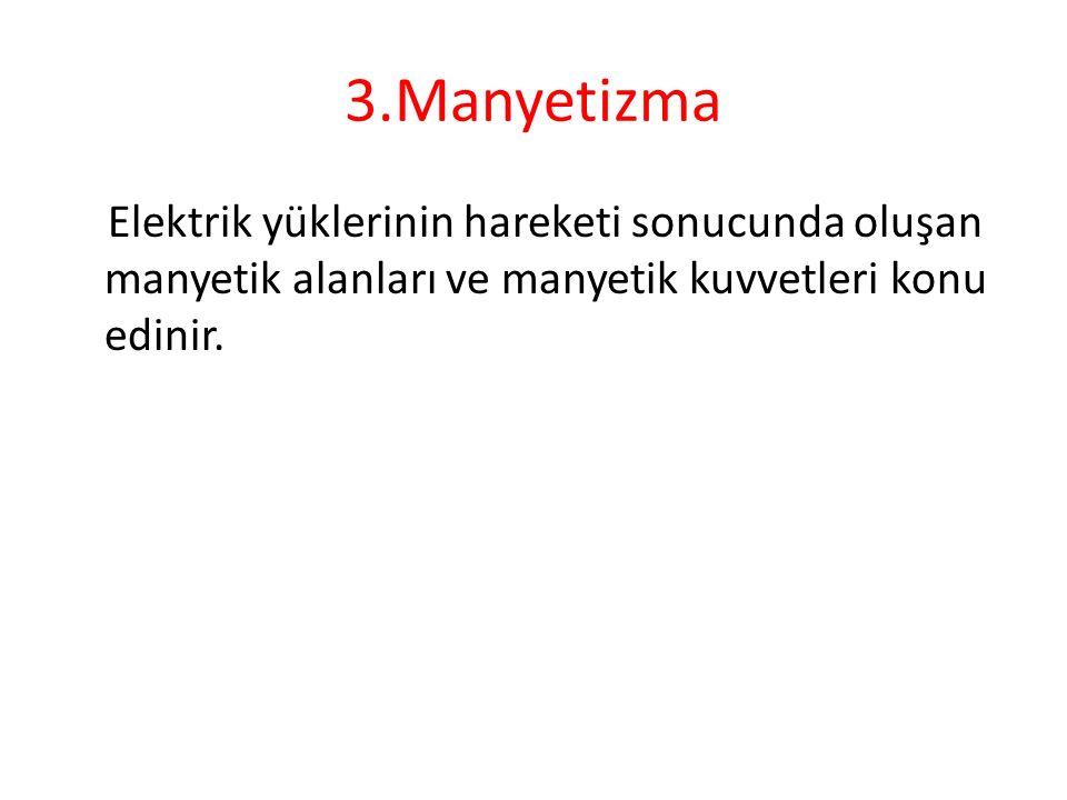 3.Manyetizma Elektrik yüklerinin hareketi sonucunda oluşan manyetik alanları ve manyetik kuvvetleri konu edinir.