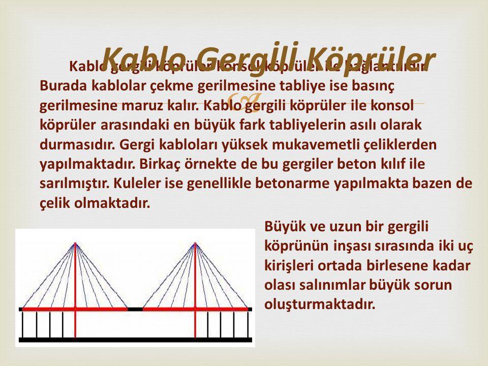  Kablo gergili köprüler konsol köprüler ile bağlantılıdır. Burada kablolar çekme gerilmesine tabliye ise basınç gerilmesine maruz kalır. Kablo gergil