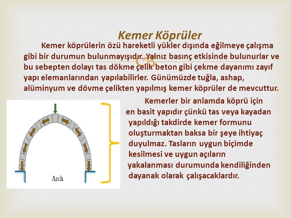  Kemer köprüler basınca çalışması için tasarlandığından özel bir eğriliğe sahiptir.