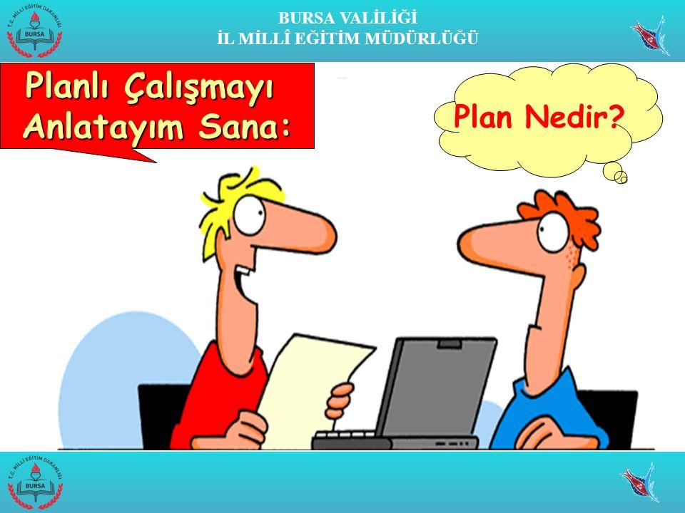 BURSA VALİLİĞİ İL MİLLÎ EĞİTİM MÜDÜRLÜĞÜ Planlı Çalışmayı Anlatayım Sana: Plan Nedir
