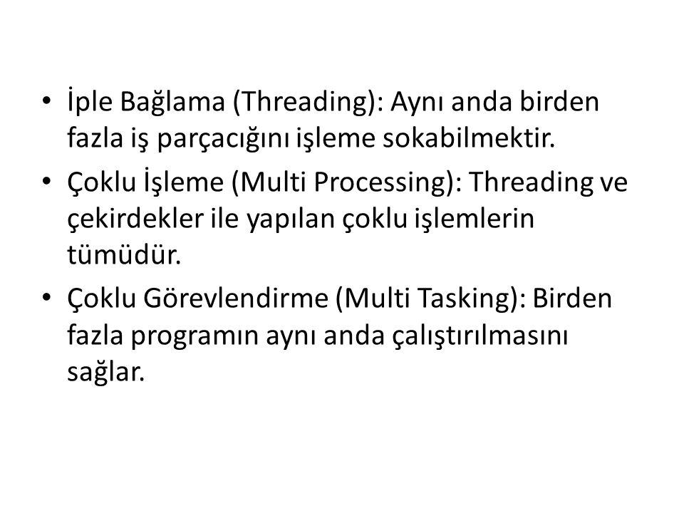 İple Bağlama (Threading): Aynı anda birden fazla iş parçacığını işleme sokabilmektir. Çoklu İşleme (Multi Processing): Threading ve çekirdekler ile ya