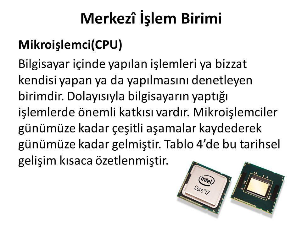 Merkezî İşlem Birimi Mikroişlemci(CPU) Bilgisayar içinde yapılan işlemleri ya bizzat kendisi yapan ya da yapılmasını denetleyen birimdir. Dolayısıyla