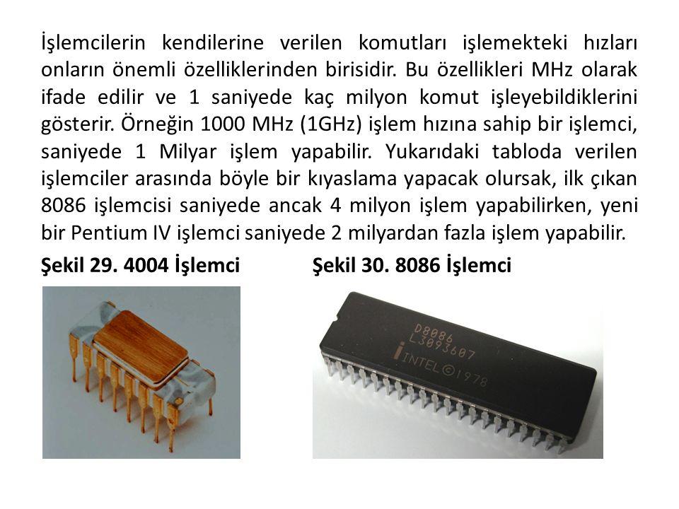 İşlemcilerin kendilerine verilen komutları işlemekteki hızları onların önemli özelliklerinden birisidir. Bu özellikleri MHz olarak ifade edilir ve 1 s
