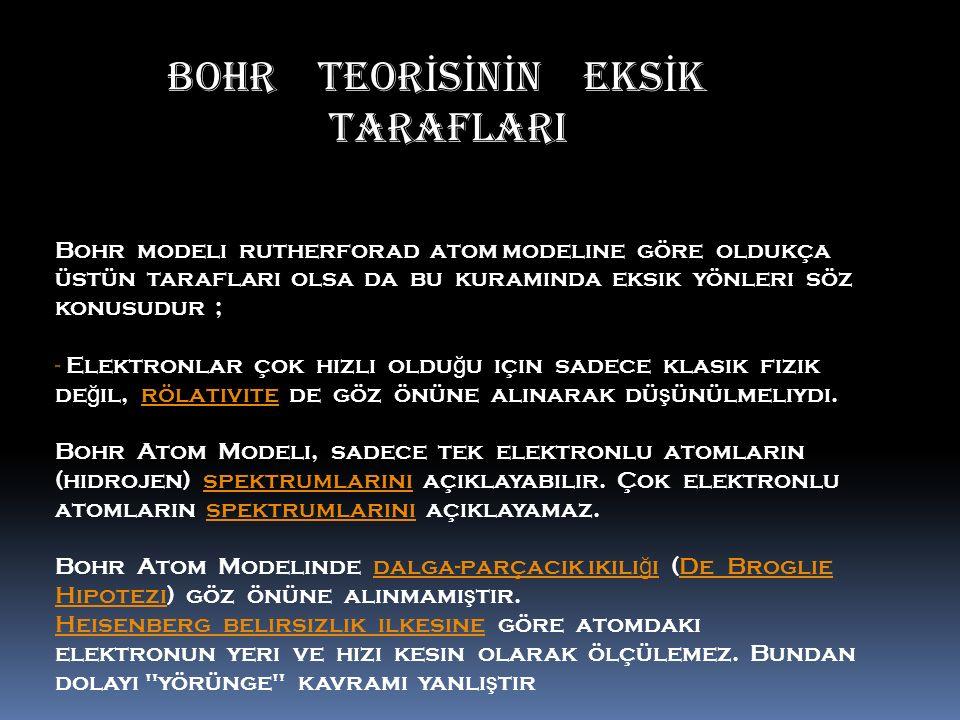 BOHR TEOR İ S İ N İ N EKS İ K ……… ………….. …….. TARAFLARI Bohr modeli rutherforad atom modeline göre oldukça üstün tarafları olsa da bu kuramında eksik