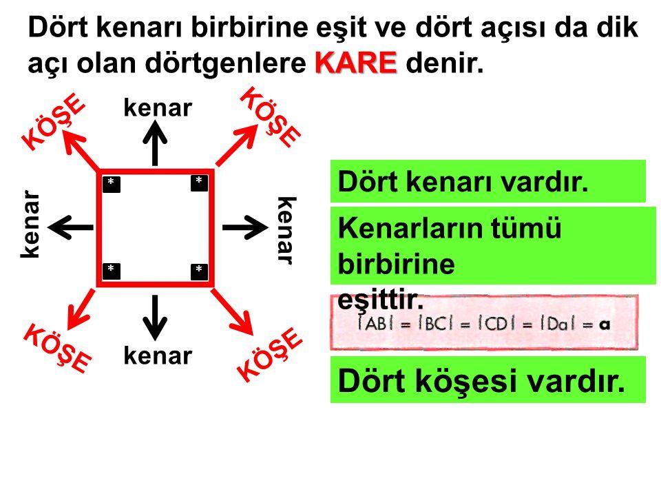KARE Dört kenarı birbirine eşit ve dört açısı da dik açı olan dörtgenlere KARE denir. kenar KÖŞE Dört kenarı vardır. Kenarların tümü birbirine eşittir