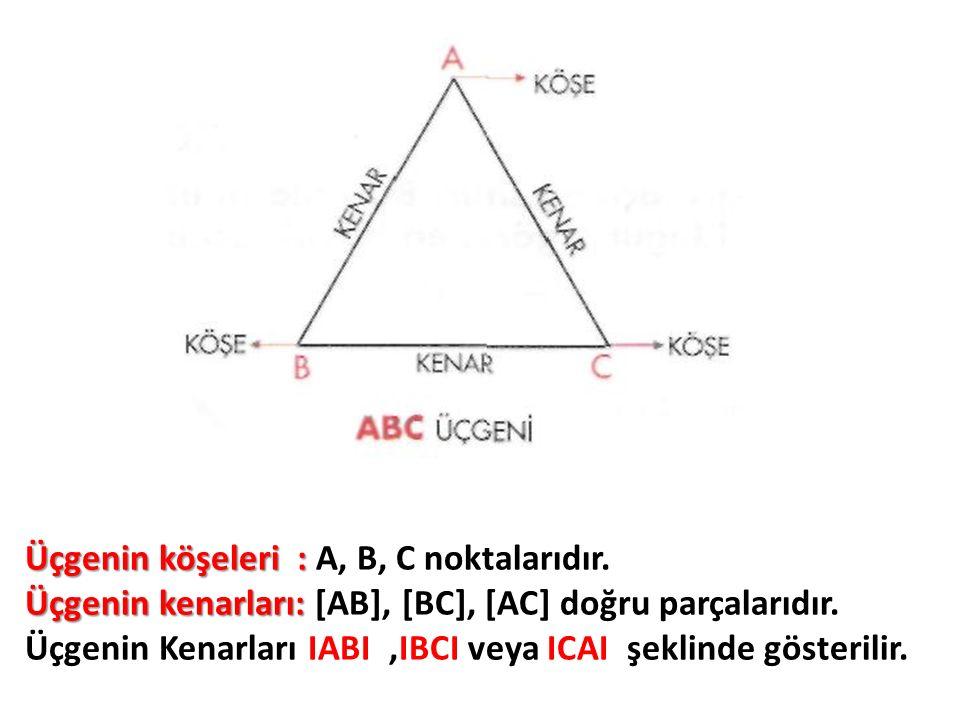 Üçgenin köşeleri : Üçgenin köşeleri : A, B, C noktalarıdır. Üçgenin kenarları: Üçgenin kenarları: [AB], [BC], [AC] doğru parçalarıdır. Üçgenin Kenarla