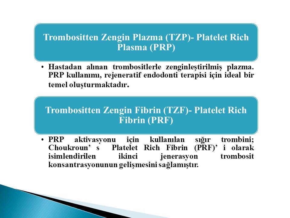 Trombositten Zengin Plazma (TZP)- Platelet Rich Plasma (PRP) Hastadan alınan trombositlerle zenginleştirilmiş plazma. PRP kullanımı, rejeneratif endod