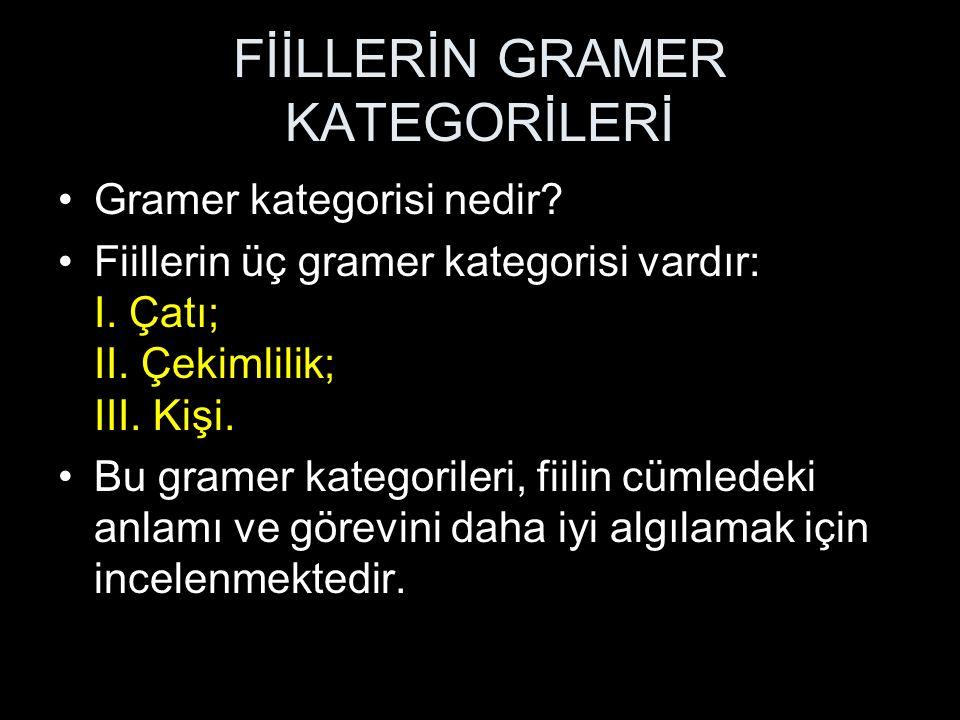 Gramer kategorisi nedir. Fiillerin üç gramer kategorisi vardır: I.