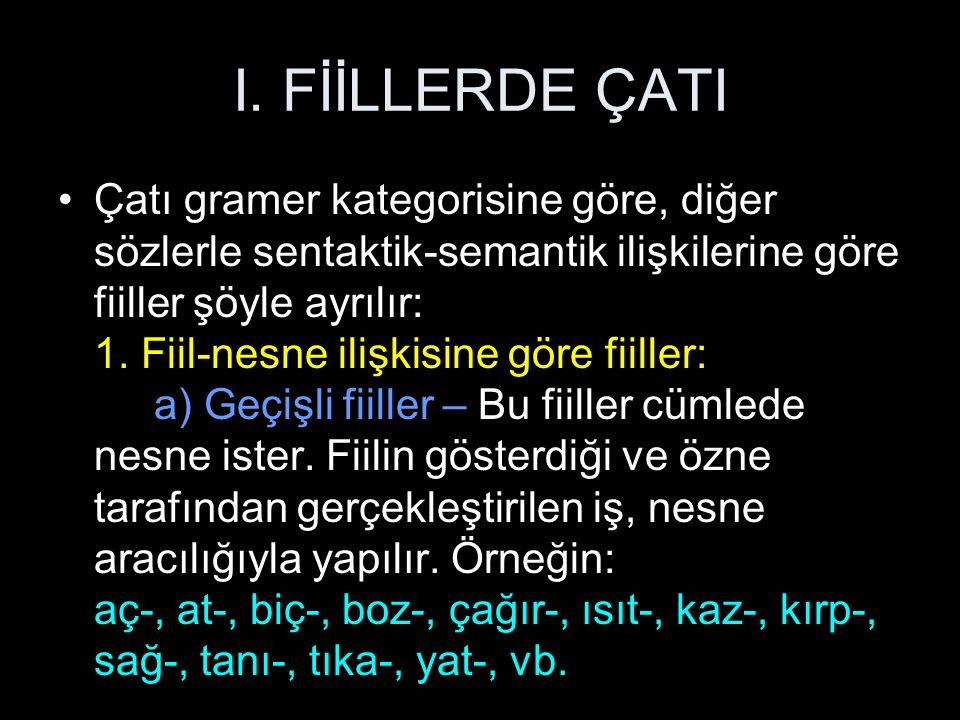I. FİİLLERDE ÇATI Çatı gramer kategorisine göre, diğer sözlerle sentaktik-semantik ilişkilerine göre fiiller şöyle ayrılır: 1. Fiil-nesne ilişkisine g