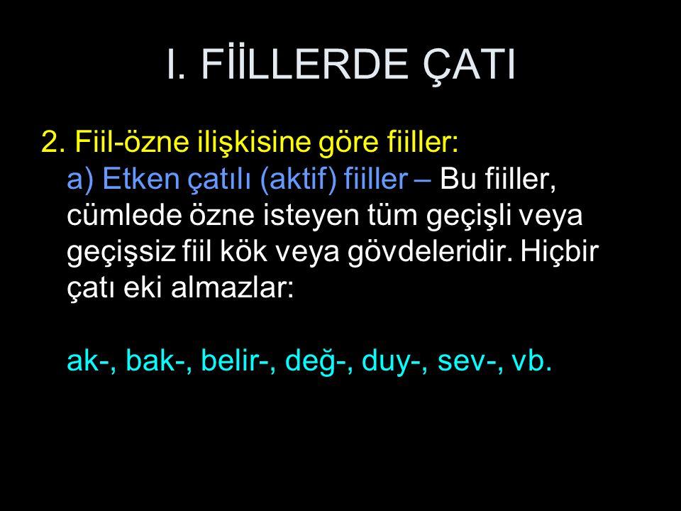 I. FİİLLERDE ÇATI 2.