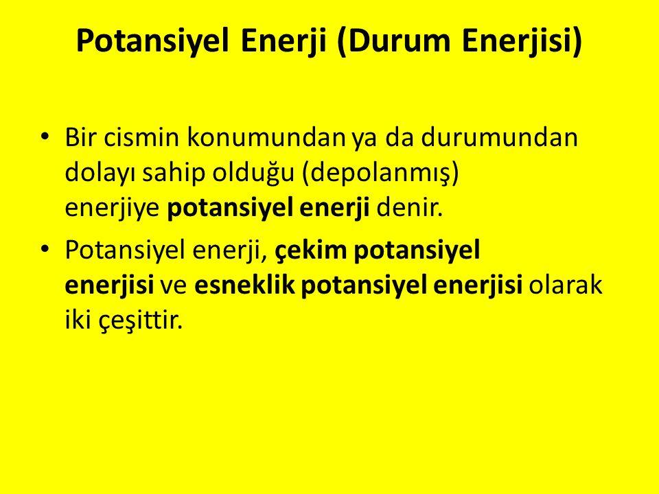 Potansiyel Enerji (Durum Enerjisi) Bir cismin konumundan ya da durumundan dolayı sahip olduğu (depolanmış) enerjiye potansiyel enerji denir. Potansiye