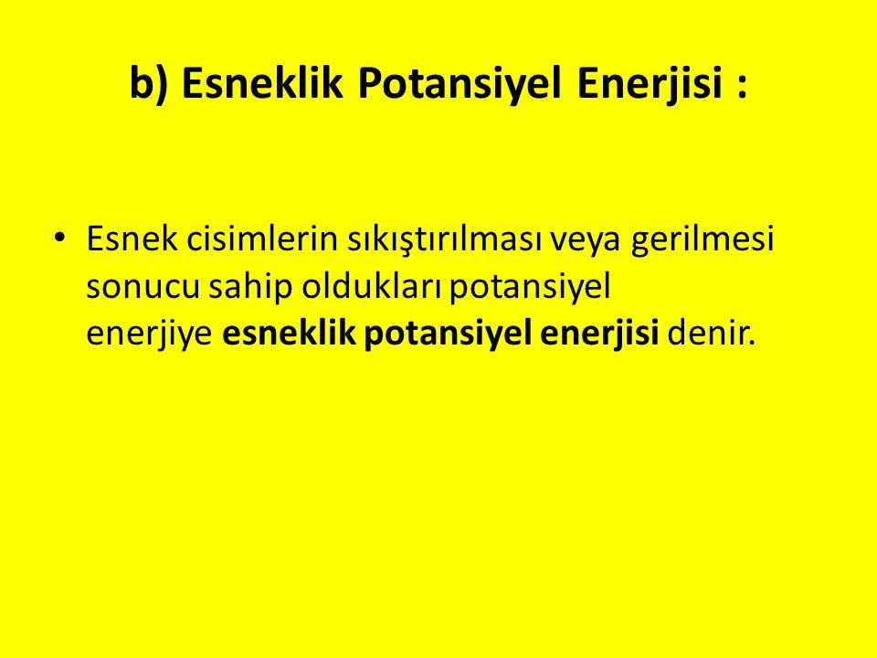 b) Esneklik Potansiyel Enerjisi : Esnek cisimlerin sıkıştırılması veya gerilmesi sonucu sahip oldukları potansiyel enerjiye esneklik potansiyel enerji