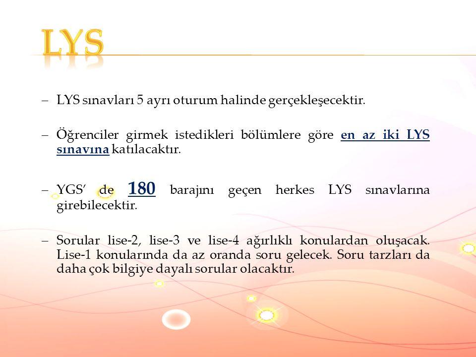 –LYS sınavları 5 ayrı oturum halinde gerçekleşecektir.