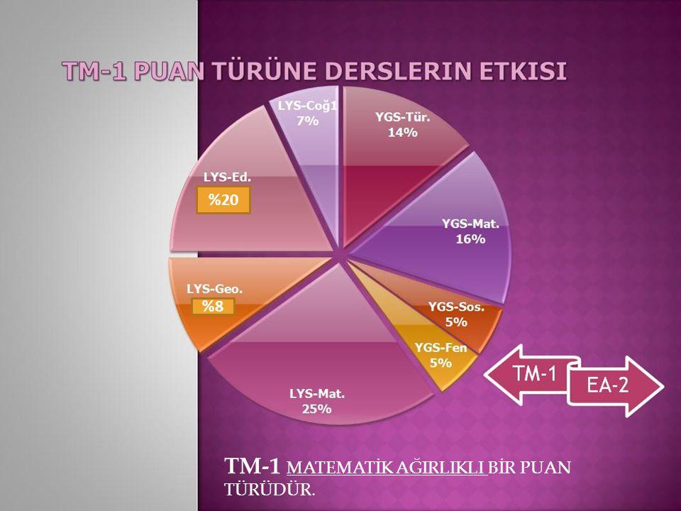 TM-1 MATEMATİK AĞIRLIKLI BİR PUAN TÜRÜDÜR.. %8 %20