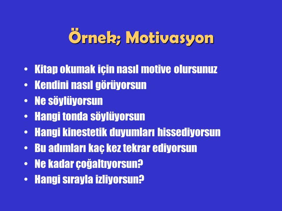 Örnek; Motivasyon Kitap okumak için nasıl motive olursunuz Kendini nasıl görüyorsun Ne söylüyorsun Hangi tonda söylüyorsun Hangi kinestetik duyumları