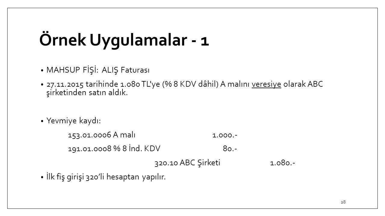Örnek Uygulamalar - 1 MAHSUP FİŞİ: ALIŞ Faturası 27.11.2015 tarihinde 1.080 TL'ye (% 8 KDV dâhil) A malını veresiye olarak ABC şirketinden satın aldık