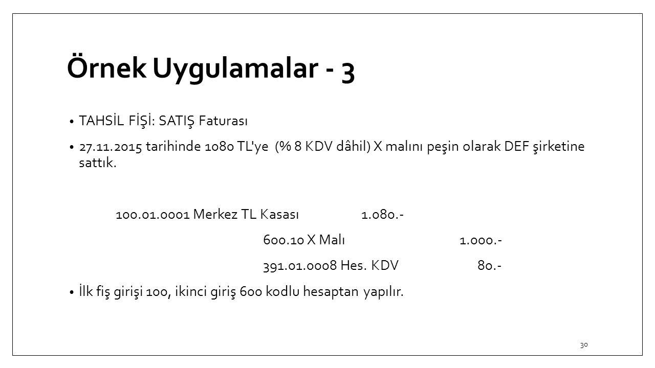 Örnek Uygulamalar - 3 TAHSİL FİŞİ: SATIŞ Faturası 27.11.2015 tarihinde 1080 TL'ye (% 8 KDV dâhil) X malını peşin olarak DEF şirketine sattık. 100.01.0