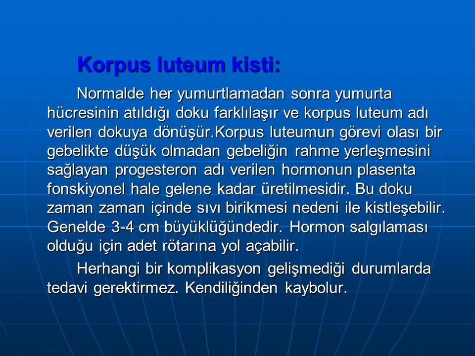 Korpus luteum kisti: Normalde her yumurtlamadan sonra yumurta hücresinin atıldığı doku farklılaşır ve korpus luteum adı verilen dokuya dönüşür.Korpus