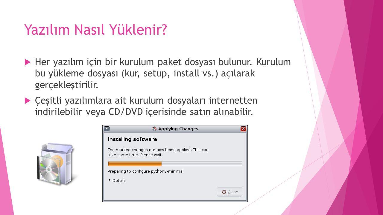 Yazılım Nasıl Yüklenir?  Her yazılım için bir kurulum paket dosyası bulunur. Kurulum bu yükleme dosyası (kur, setup, install vs.) açılarak gerçekleşt
