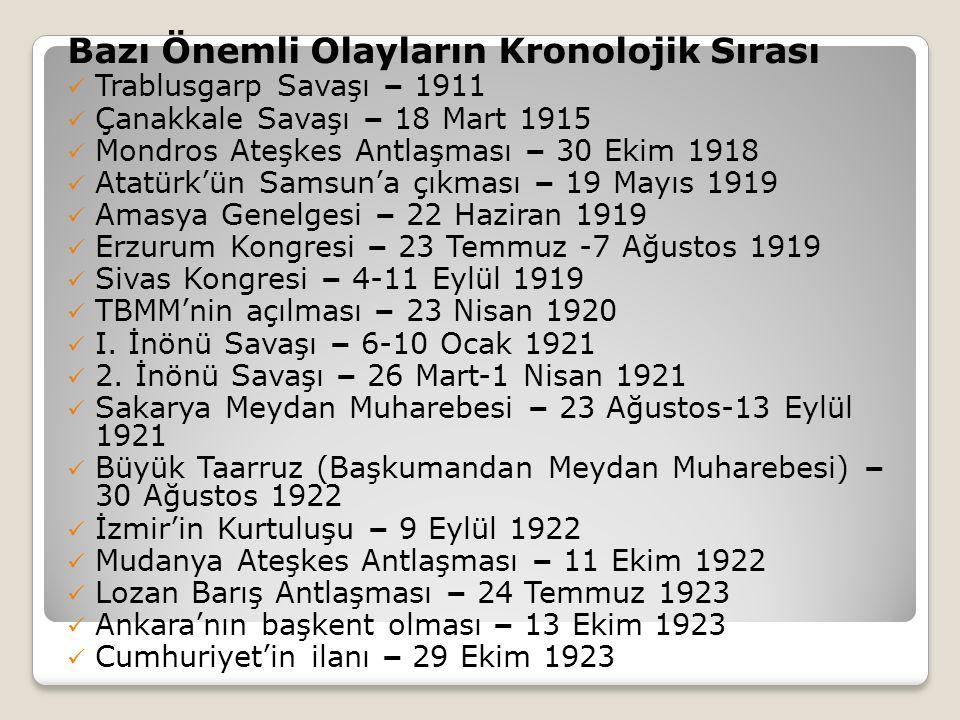 Bazı Önemli Olayların Kronolojik Sırası Trablusgarp Savaşı – 1911 Çanakkale Savaşı – 18 Mart 1915 Mondros Ateşkes Antlaşması – 30 Ekim 1918 Atatürk'ün Samsun'a çıkması – 19 Mayıs 1919 Amasya Genelgesi – 22 Haziran 1919 Erzurum Kongresi – 23 Temmuz -7 Ağustos 1919 Sivas Kongresi – 4-11 Eylül 1919 TBMM'nin açılması – 23 Nisan 1920 I.