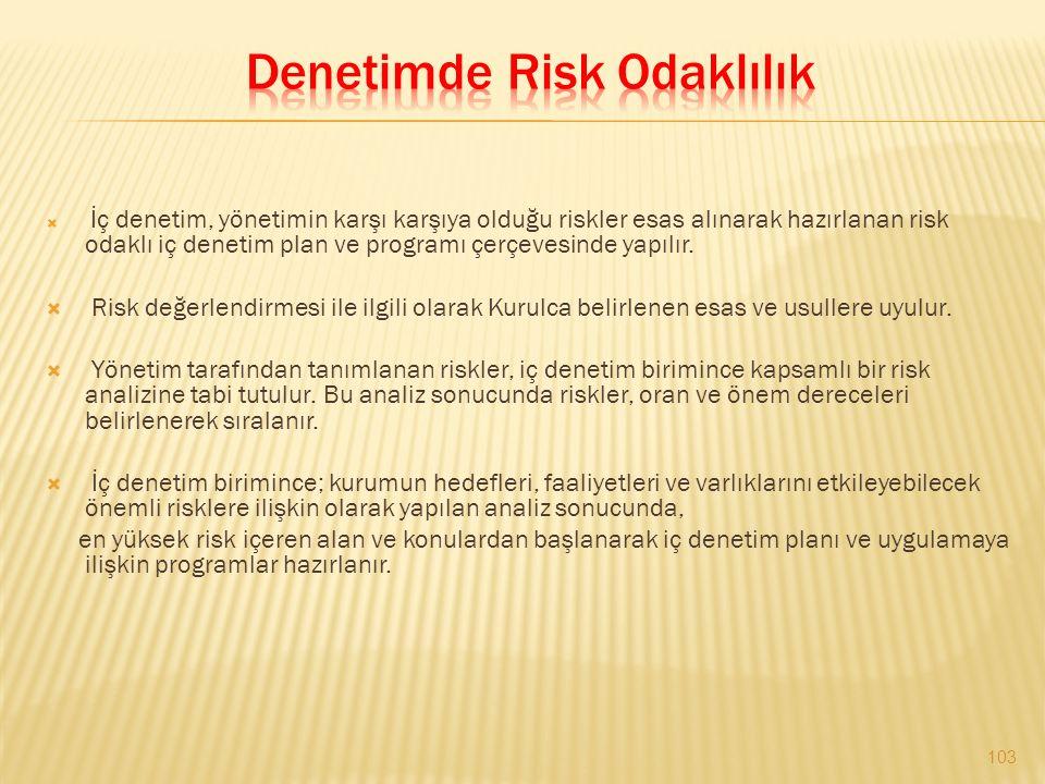  İç denetim, yönetimin karşı karşıya olduğu riskler esas alınarak hazırlanan risk odaklı iç denetim plan ve programı çerçevesinde yapılır.  Risk değ