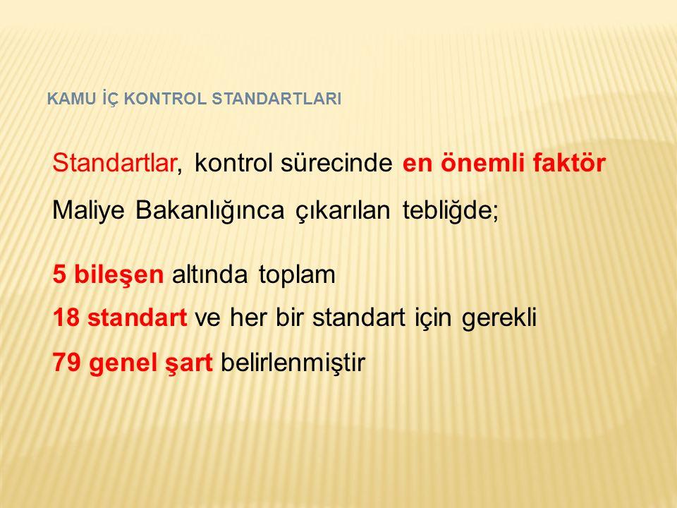 KAMU İÇ KONTROL STANDARTLARI Standartlar, kontrol sürecinde en önemli faktör Maliye Bakanlığınca çıkarılan tebliğde; 5 bileşen altında toplam 18 stand