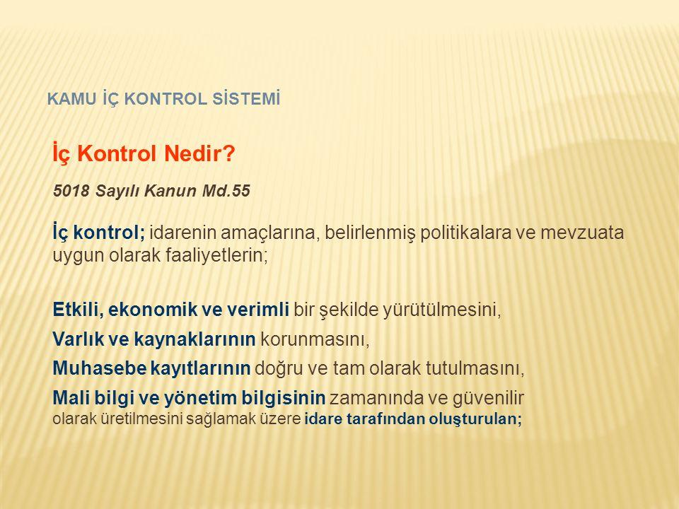 KAMU İÇ KONTROL SİSTEMİ İç Kontrol Nedir? 5018 Sayılı Kanun Md.55 İç kontrol; idarenin amaçlarına, belirlenmiş politikalara ve mevzuata uygun olarak f