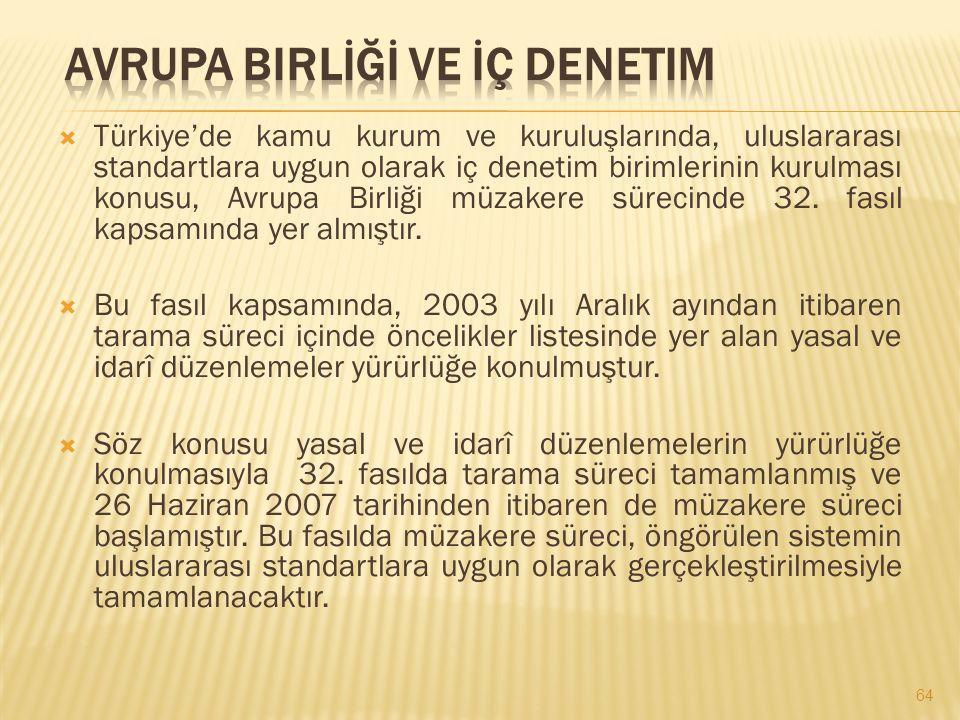  Türkiye'de kamu kurum ve kuruluşlarında, uluslararası standartlara uygun olarak iç denetim birimlerinin kurulması konusu, Avrupa Birliği müzakere sü
