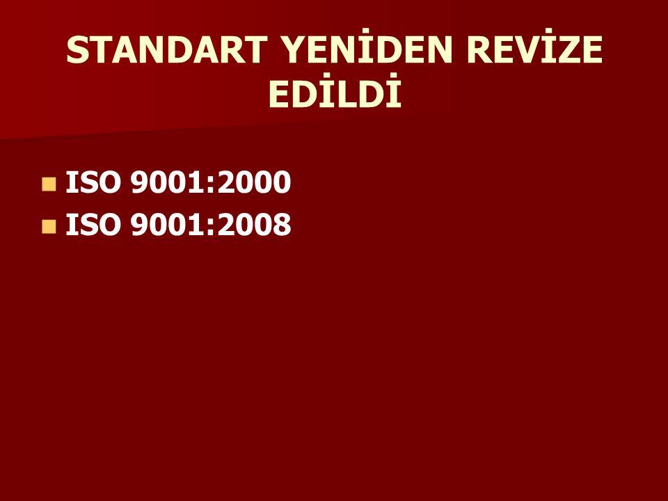 STANDART YENİDEN REVİZE EDİLDİ ISO 9001:2000 ISO 9001:2008