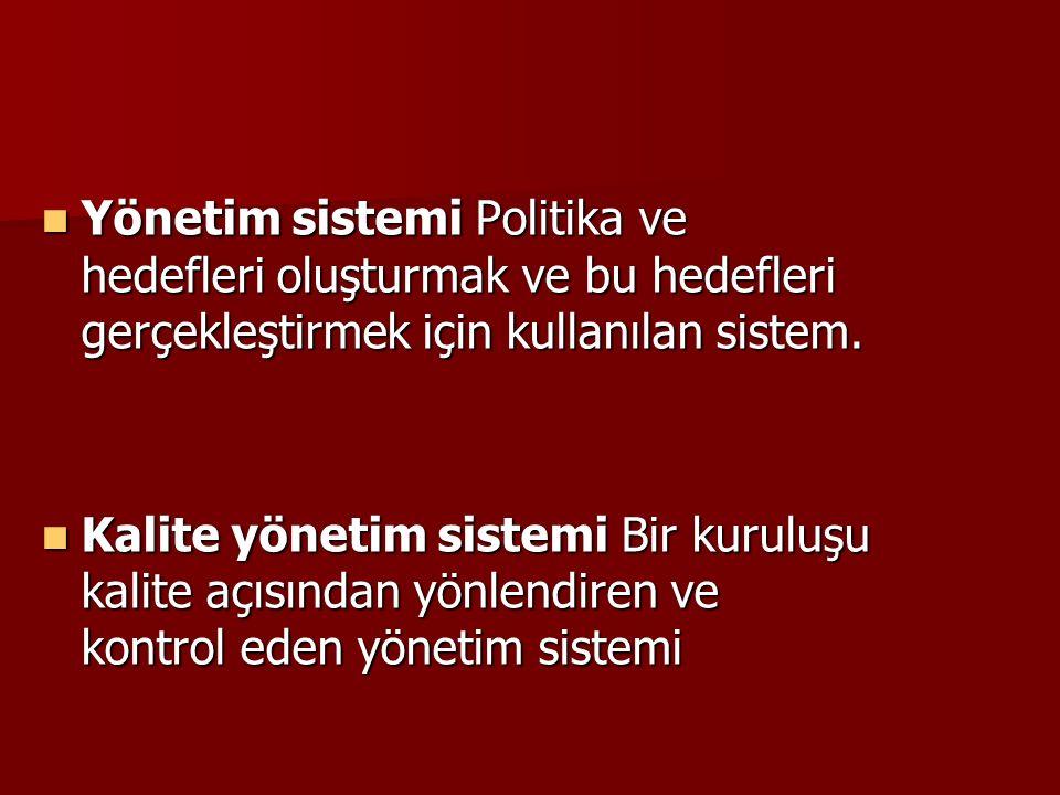 Yönetim sistemi Politika ve hedefleri oluşturmak ve bu hedefleri gerçekleştirmek için kullanılan sistem. Yönetim sistemi Politika ve hedefleri oluştur