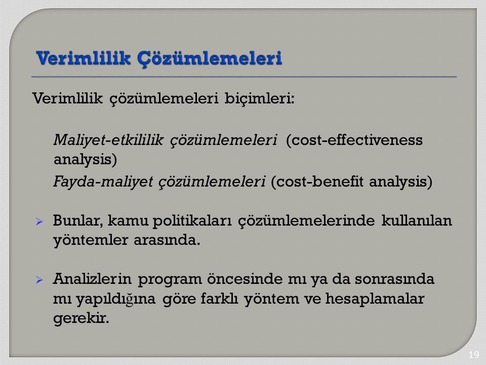Verimlilik çözümlemeleri biçimleri: Maliyet-etkililik çözümlemeleri (cost-effectiveness analysis) Fayda-maliyet çözümlemeleri (cost-benefit analysis)  Bunlar, kamu politikaları çözümlemelerinde kullanılan yöntemler arasında.