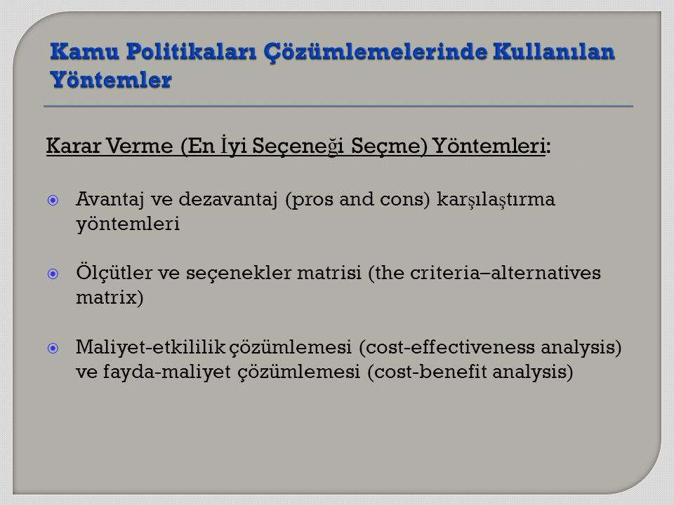 Karar Verme (En İ yi Seçene ğ i Seçme) Yöntemleri:  Avantaj ve dezavantaj (pros and cons) kar ş ıla ş tırma yöntemleri  Ölçütler ve seçenekler matrisi (the criteria–alternatives matrix)  Maliyet-etkililik çözümlemesi (cost-effectiveness analysis) ve fayda-maliyet çözümlemesi (cost-benefit analysis)