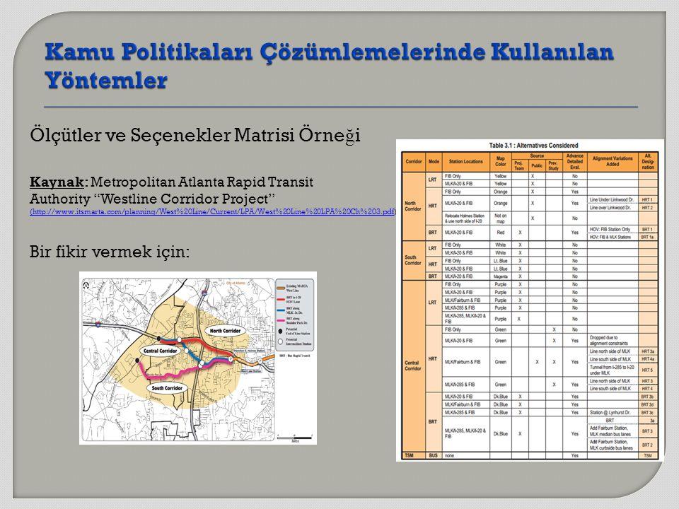 Ölçütler ve Seçenekler Matrisi Örne ğ i Kaynak: Metropolitan Atlanta Rapid Transit Authority Westline Corridor Project (http://www.itsmarta.com/planning/West%20Line/Current/LPA/West%20Line%20LPA%20Ch%203.pdf(http://www.itsmarta.com/planning/West%20Line/Current/LPA/West%20Line%20LPA%20Ch%203.pdf) Bir fikir vermek için: