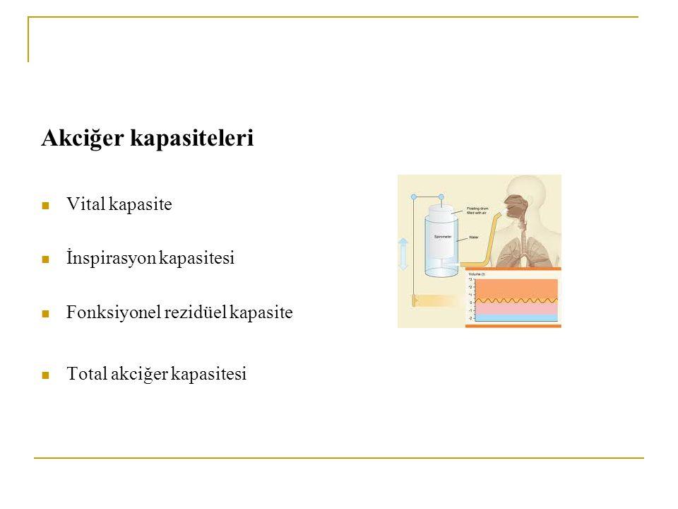 Akciğer kapasiteleri Vital kapasite İnspirasyon kapasitesi Fonksiyonel rezidüel kapasite Total akciğer kapasitesi