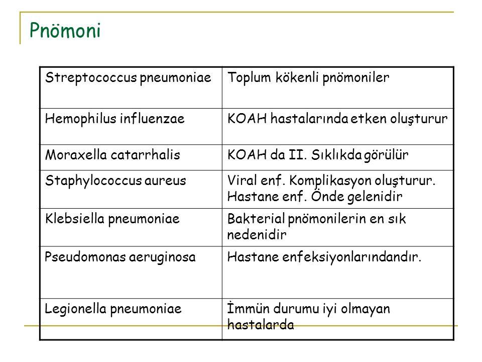 Pnömoni Streptococcus pneumoniaeToplum kökenli pnömoniler Hemophilus influenzaeKOAH hastalarında etken oluşturur Moraxella catarrhalisKOAH da II. Sıkl