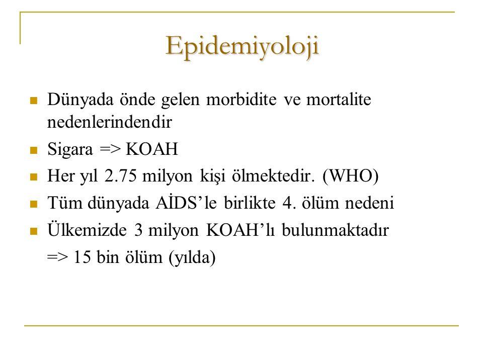 Epidemiyoloji Dünyada önde gelen morbidite ve mortalite nedenlerindendir Sigara => KOAH Her yıl 2.75 milyon kişi ölmektedir.