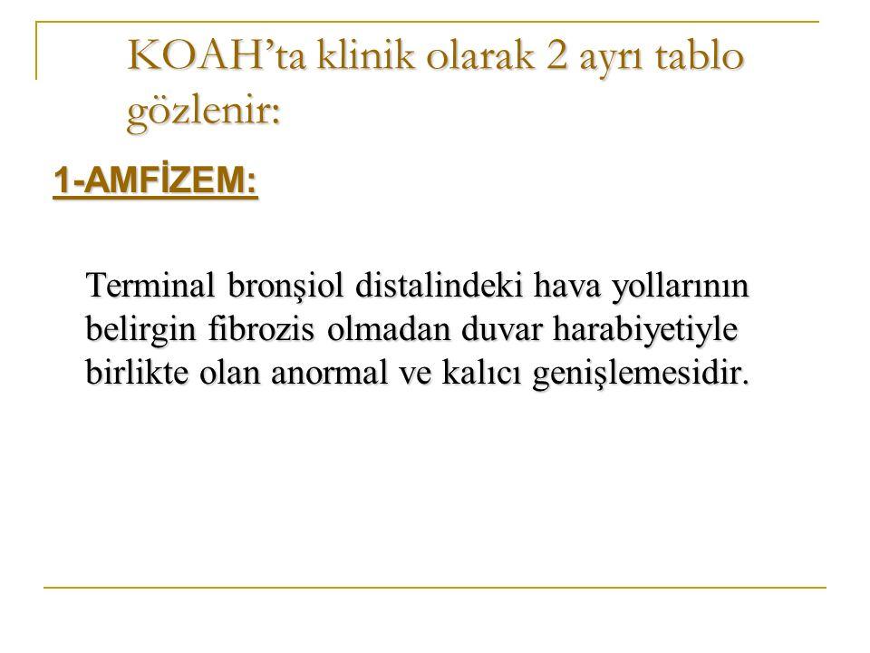KOAH'ta klinik olarak 2 ayrı tablo gözlenir: 1-AMFİZEM: Terminal bronşiol distalindeki hava yollarının belirgin fibrozis olmadan duvar harabiyetiyle birlikte olan anormal ve kalıcı genişlemesidir.