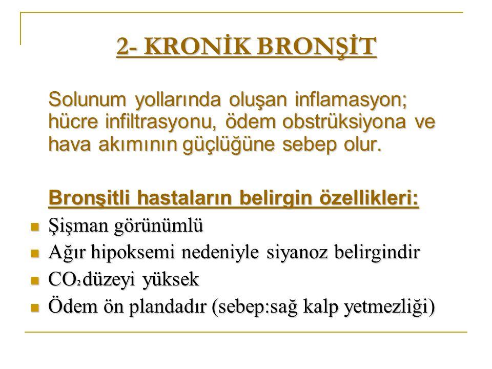 2- KRONİK BRONŞİT Solunum yollarında oluşan inflamasyon; hücre infiltrasyonu, ödem obstrüksiyona ve hava akımının güçlüğüne sebep olur. Bronşitli hast