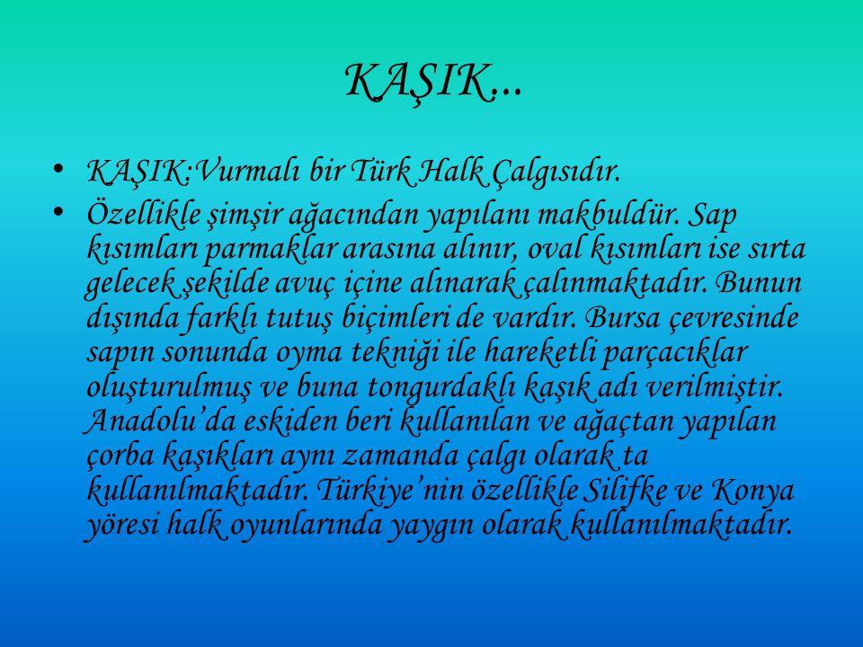 KAŞIK:Vurmalı bir Türk Halk Çalgısıdır.Özellikle şimşir ağacından yapılanı makbuldür.