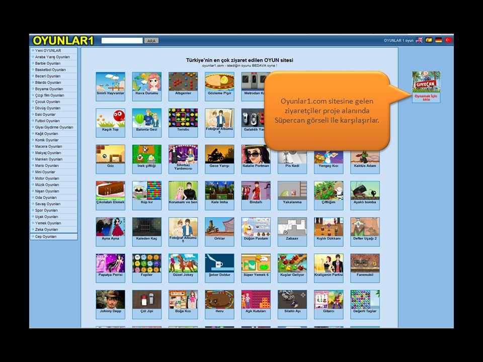 Oyunlar1.com sitesine gelen ziyaretçiler proje alanında Süpercan görseli ile karşılaşırlar.