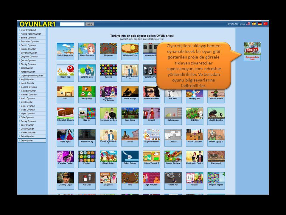 Ziyaretçilere tıklayıp hemen oynanabilecek bir oyun gibi gösterilen proje de görsele tıklayan ziyaretçiler supercanoyun.com adresine yönlendirilirler.