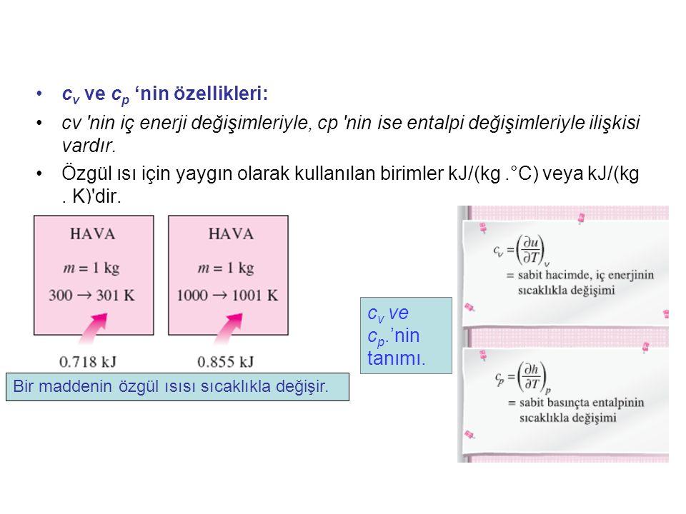 c v ve c p 'nin özellikleri: cv 'nin iç enerji değişimleriyle, cp 'nin ise entalpi değişimleriyle ilişkisi vardır. Özgül ısı için yaygın olarak kullan